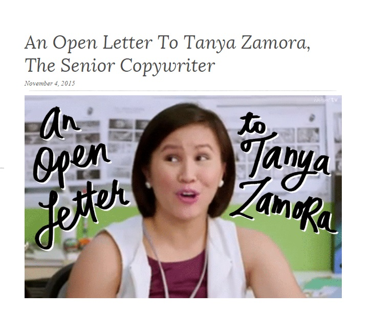 An Open Letter To Tanya Zamora, The Senior Copywriter