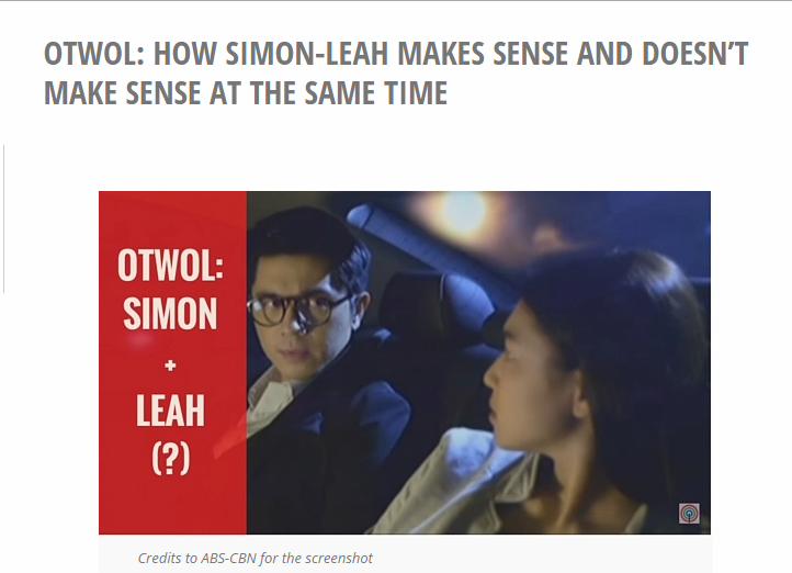 OTWOL: How Simon-Leah Makes Sense and Doesn't Make Sense at the Same Time